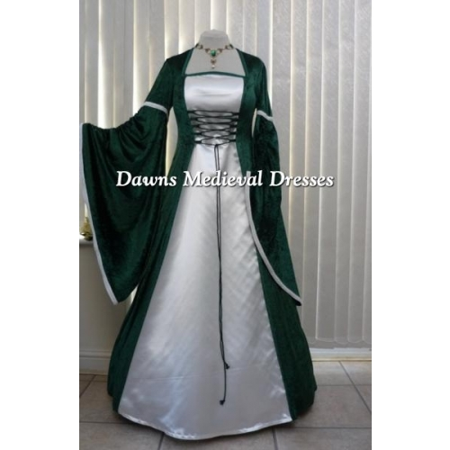 Renaissance Green and Ivory Velvet Dress